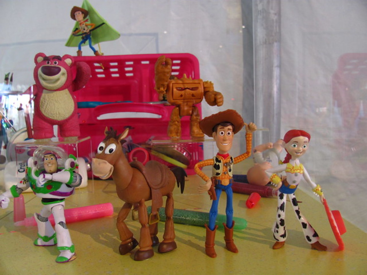 Woody, Buzz, and other toys.