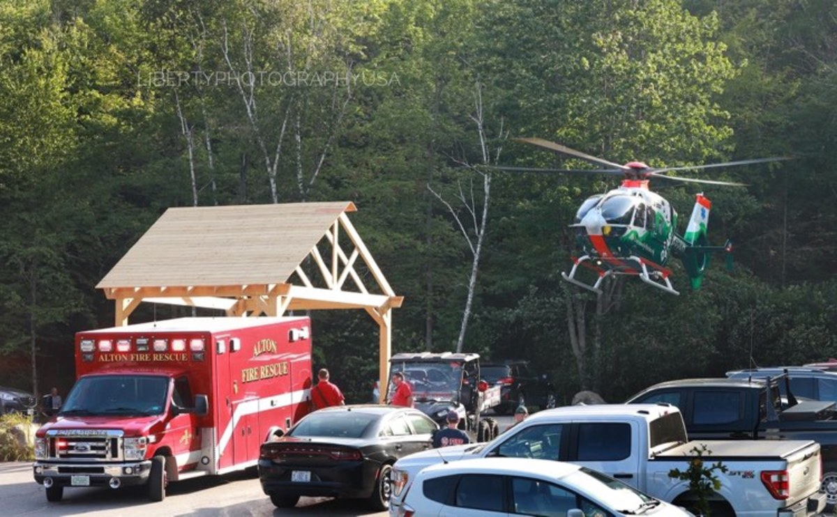 Dad's (first ever) helicopter ride to Concord Hospital.