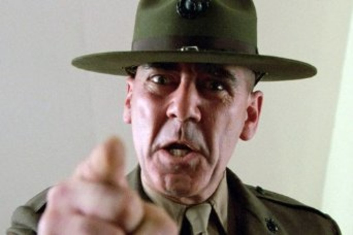 """A Warrior goes out tonight... to stand for you, to stand and fight....Should the Warrior have to put out a fire, do not worry your slumber, it is still safe for you to retire!"" Picture of R.Lee Ermey in ""Full Metal Jacket"" (1987)"