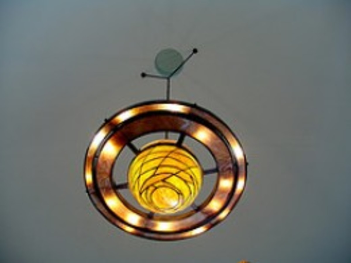 Stained glass Saturn chandelier in Lowell's rotunda