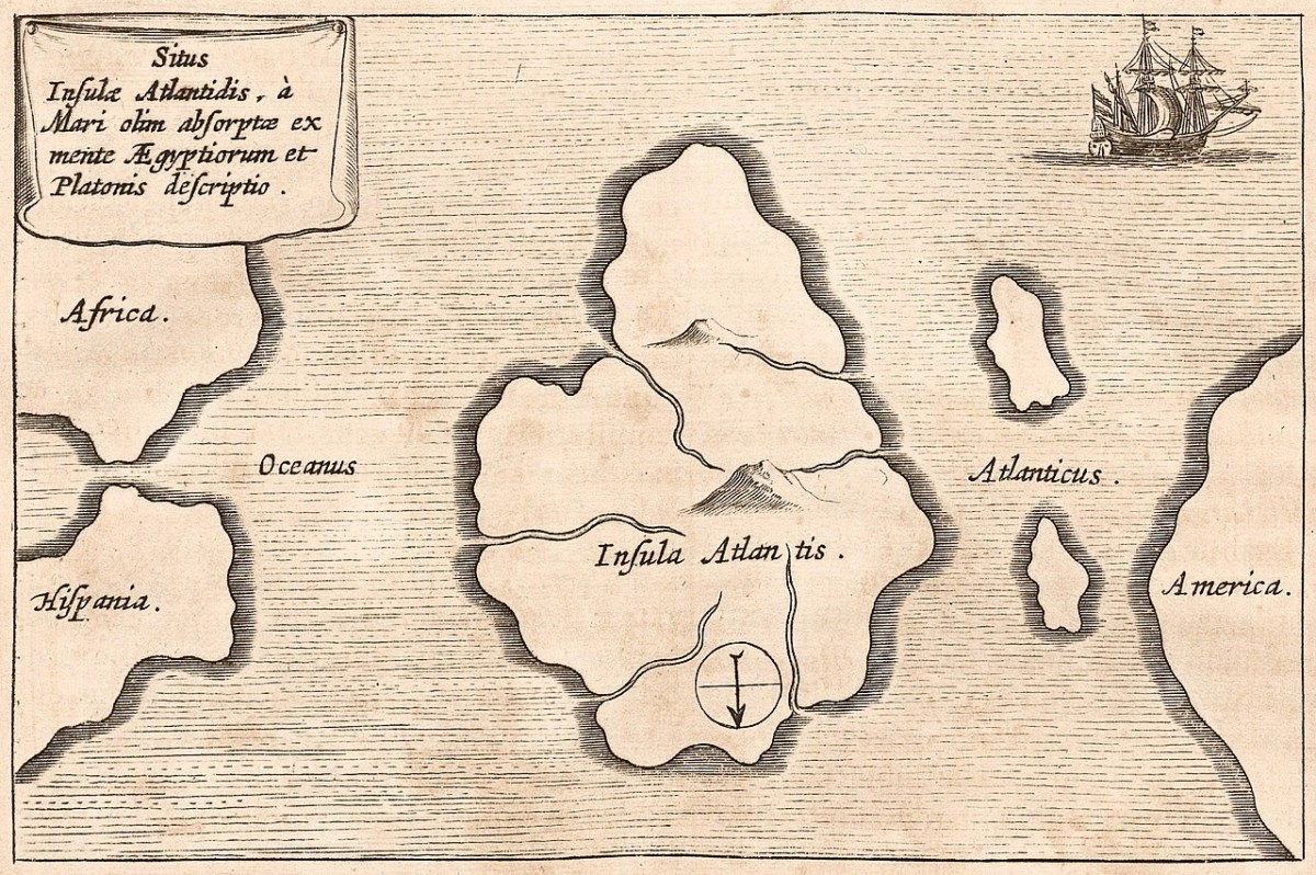 The location of Atlantis according to Athanasius Kircher in 1664